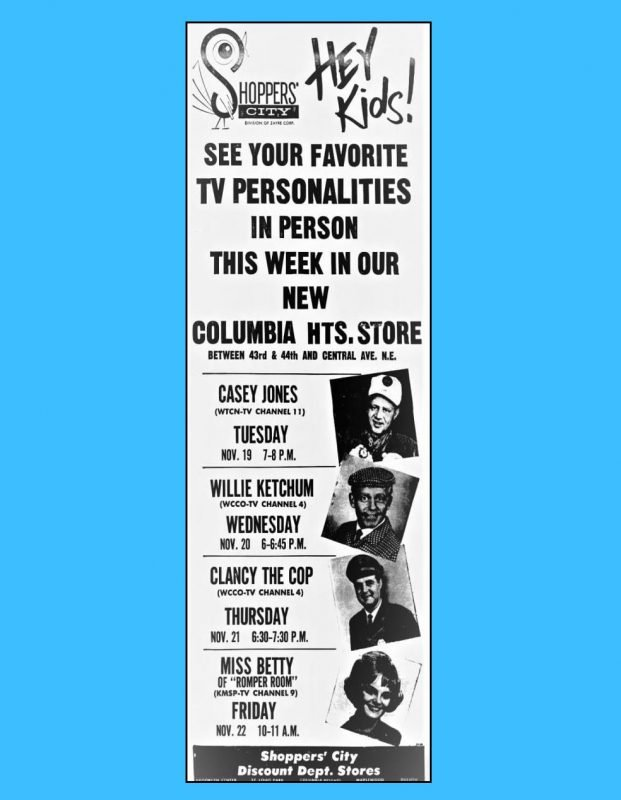 Shoppers City advirtisement promoting personal appearances by Casey Jones and others